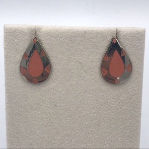 Laurel Burch Primal Tear Peach Silver Earrings